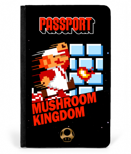 Super Mario Bros Mushroom Kingdom Faux Leather Passport Cover